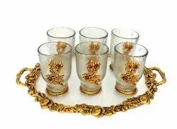 Metal Gold Plated Oval Serving Tray With Glasses For Home, Office, Wedding, Party & Occisison