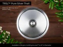 999 Fine Silver, Pure Silver Thali (TRSL), 150 Gms To 600 Gms
