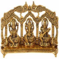 Gold Plated Laxmi Ganesh Sawaswati Statue / Idol For Diwali Home Pooja & Corporate Gift