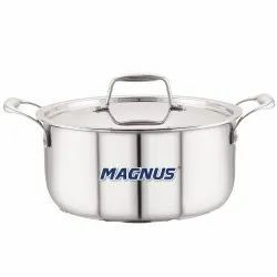 Magnus Triply Stainless Steel Casserole With Stainless Steel Lid and Induction Bottom, 24 cm(5.15 L)