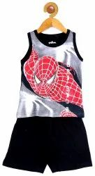 Boys Sleeveless Glow in The Dark T-Shirt And Short Set 100% Cotton Made in India