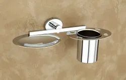 Stainless Steel Silver 304 Toothbrush Holder Soap Dish Set, Number Of Holder: 1