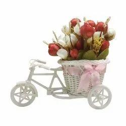 Home Decor White Plastic Tricycle, Size/Dimension: 24LX17HX11W
