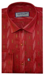 Printed Red Legendary Man Paper Cotton Slim Fit Formal Shirt