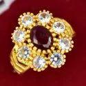 Zircon Studded Flower Finger Ring