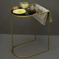 Black Side Table Metal For Living Room (metal Gold & Black)