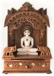 Teak Wood Natural Polish Designer Wooden Temple, For Home