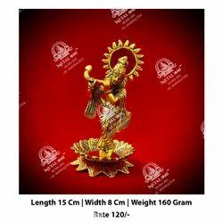 Golden Metal Kala Krishna God Statue