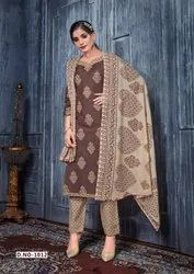 Party Wear Embroidered Dress Material, 5.5 m (separate blouse piece)