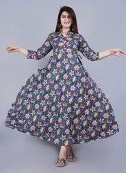 Festive Wear Women Ladies Printed Rayon Long Gown, Size: 38-46