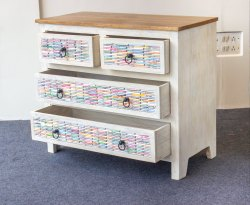 Wooden Distress  Finish Chest of Drawer