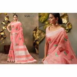 Stylewell Casual Wear Cotton Linen Embroidery Saree, 6.3 m (with blouse piece)