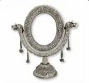 SIlver Plated Brass Oval Table Stand Mirror For Home Decoration , Wedding & Corporate Gift
