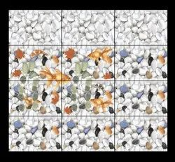 Ceramic Mosaic White pebbles design Bathroom wall tiles, 6 Pieces, Thickness: 5-10 mm