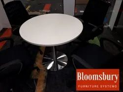 White Wooden Meeting Round Table, For Office