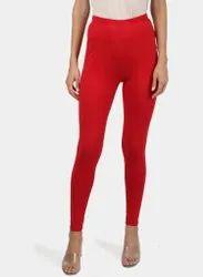 Red Plain Cotton Legging