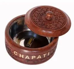 Brown Handcrafted Wooden Chapati Box, For Kitchen