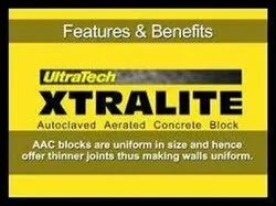 Solid Autoclaved Aerated Concrete Ultratech Xtralite AAC Blocks