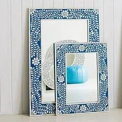 Blue Floral Bone Inlay Mirror Frame