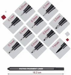 Micron Pigment Black Pen Set 0.1.0.05,0.5,0.4,0.3,0.2,0.6,0.8,1.0,Brush