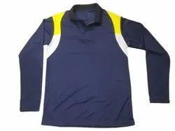 Collar Neck Full Sleeves Men Navy Blue PMC Lycra T Shirt