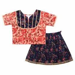 Blue and Pink Printed Baby Girls Lehenga Choli