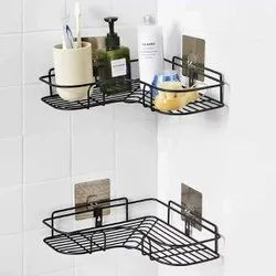 Proffitto Self-adhesive Bathroom Corner Rack Storage Shelves, Stainless Steel Bathroom Corner
