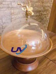 Wooden Round Reindeer Dome Platter