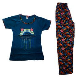 Sleepwear Printed Girls Night Wear Set Pant