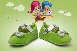 Velvett Green Glitter Bows Baby Booties