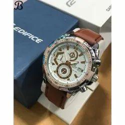 Casio Edifice Men Wrist Watch With Leather Belt