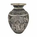 Silver Plated Carving Work Pot / Flower Vase For Home Decoration & Corporate Gift