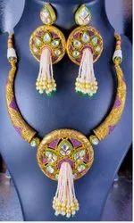 Golden Party Ladies Fancy Necklace Set