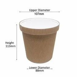 750ml Kraft Ripple Container With Lid