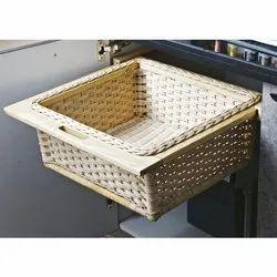Slimline Handcrafted Rectangular Wicker Basket For Cloths,  Bamboo Wicker Basket  (Beige)