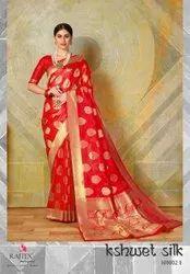 SAREEMALL Printed Ladies Wedding Wear Silk Saree, 6.3 m (with blouse piece)