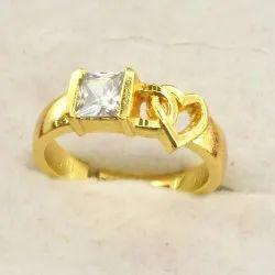 Love Heart Zircon Studded Finger Ring