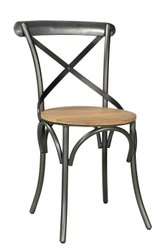 Silver And Brown Modern Without Arm Wooden Iron Chair, Finish: Polished