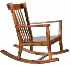 Wooden Brown Wood State Wood Rocking Chair
