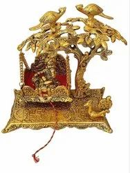 Gold Plated Bal Gopal Jhulla With Laddu Gopal Ji For Home Temple & Corporate Gift