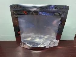 Silver Stand Up Zipper Pouch With Window