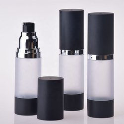 Airless Bottle 50 Ml Pump Airless Bottle Aluminum Cap Clear Silver Airless Pump
