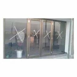 Aluminium Powder Coated Commercial Aluminum Glass Door, Thickness: 12 Mm(glass)