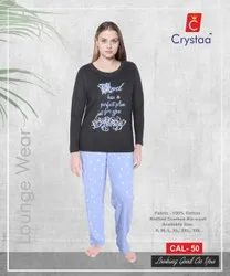 Crystaa Casual Wear Ladies Printed Half Sleeve Pyjama Set, Size: Xxl 3xl