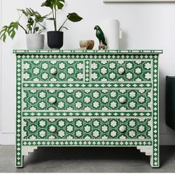 Sideboard Rectangular- Floral Bone Inlay 4- Drawer Commode - Blue Floral, Size: 110x45x85 Cm