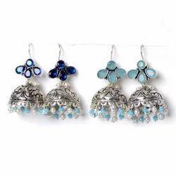 Sapphire, Chalcedony Gemstone Jhumka Earrings Jewelry