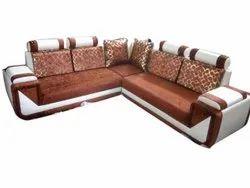 Modern Brown Wooden L Shape Corner Sofa Set, For Home