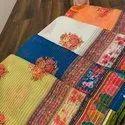 Digital Printed Designs And Thread Work Saree