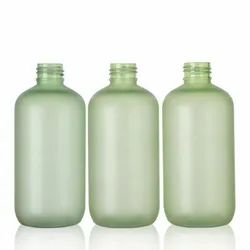 PET fancy matte green color boston round 300ml frosted bottle for cosmetic skin care toner/lotion
