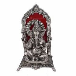White Metal Ganesha Sitting On Chowki Statue For Home Decoration & Corporate Gift.